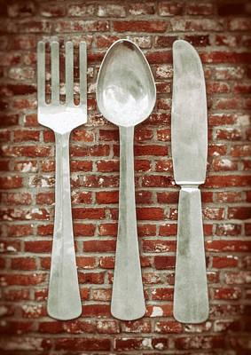 Fork Spoon Knife Print by Wim Lanclus