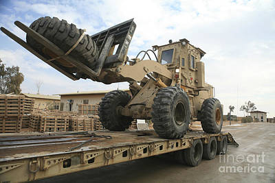 Forklift Is Unloaded Off Of A Logistics Print by Stocktrek Images