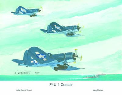 Corsair Fighter Painting - Formation by Dennis Vebert