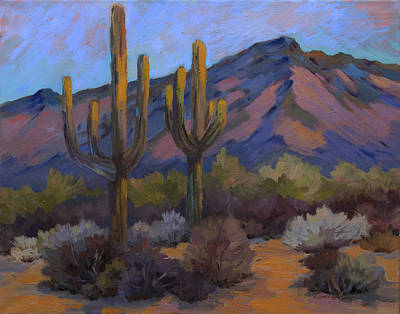 Saguaro Cactus Painting - Fort Apache Junction by Diane McClary