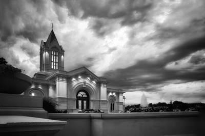 Fort Collins Lds Temple Se Corner Bw Print by David Zinkand