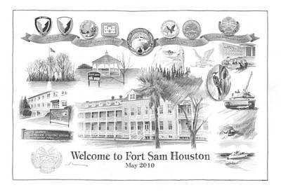 Sam Houston Painting - Fort Sam Houston by Mike Theuer
