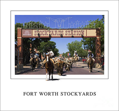 Cattle Drive Digital Art - Fort Worth Stockyards by Priscilla Burgers