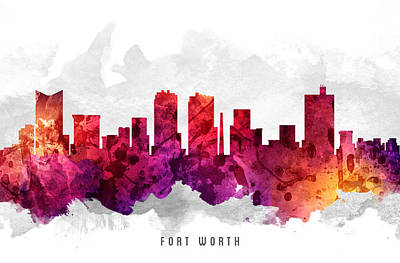 Towns Digital Art - Fort Worth Texas Cityscape 14 by Aged Pixel