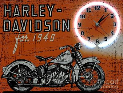 Forties Harley Davidsons Print by Pd