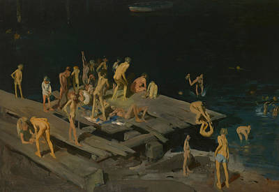 Boys Swimming Painting - Forty Two Kids by George Wesley Bellows