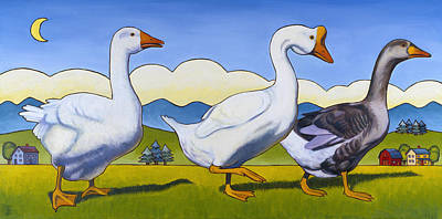 Goose Painting - Forward March by Stacey Neumiller