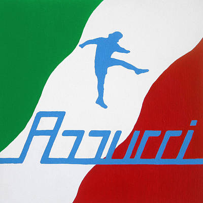 Of Cool Colors Painting - Forza Azzurri by Oliver Johnston