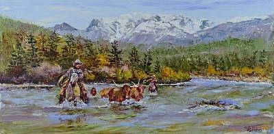 Steer Painting - Found'm by Stephen David Rathburn