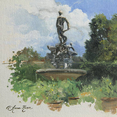 Fountain In The Boboli Gardens Florence Print by Anna Rose Bain