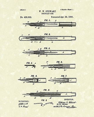 Pen Drawing - Fountain Pen 1890 Patent Art by Prior Art Design