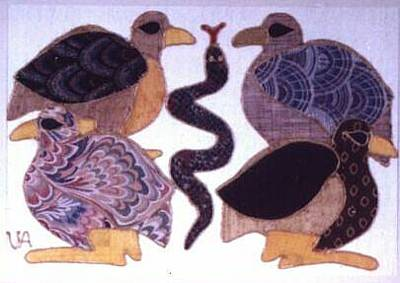 Painting - Four Birds And A Snake by Valerie X Armstrong