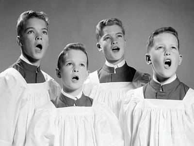 Four Choir Boys Singing, C.1950-60s Print by H. Armstrong Roberts/ClassicStock