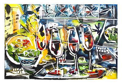 Glass Of Wine Painting - Four Cups Of Sweet Wine by Anastassia Panenko