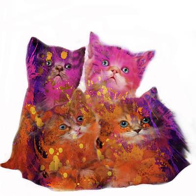 Friendly Digital Art - Four Cute Kittens  by Art Spectrum