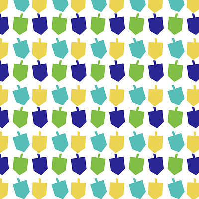 Judaica Digital Art - Four Dreidels Pattern- Art By Linda Woods by Linda Woods