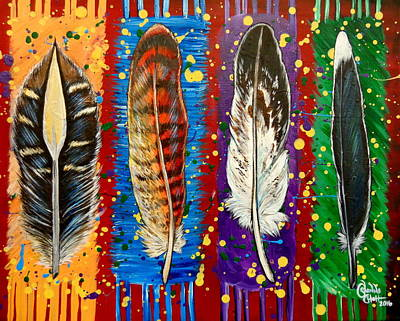 Roadrunner Mixed Media - Four Feathers, For Four Tribes by Shanna Stott