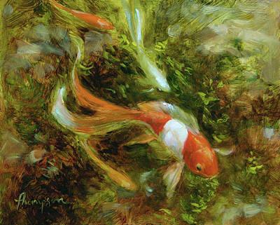 Four Goldfish Original by Tracie Thompson