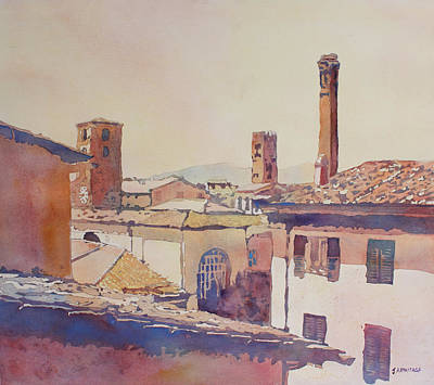 Lucca Painting - Four Luccan Towers by Jenny Armitage