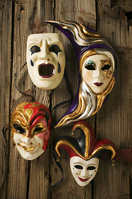 Crying Photograph - Four Masks by Garry Gay