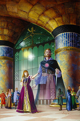 Knights Castle Painting - Four Moons Of Darkover by Richard Hescox