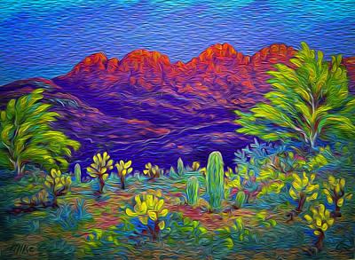 Four Peaks Blaze Print by Michael Gross