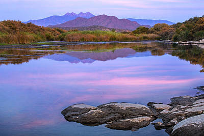 Phoenix Photograph - Four Peaks Reflections by Dave Dilli