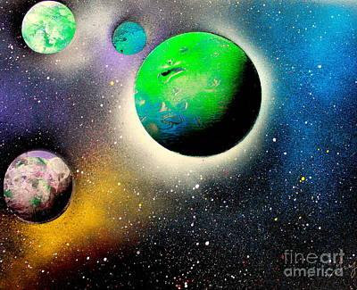 Outer Space Painting - Four Planets 02 E by Greg Moores
