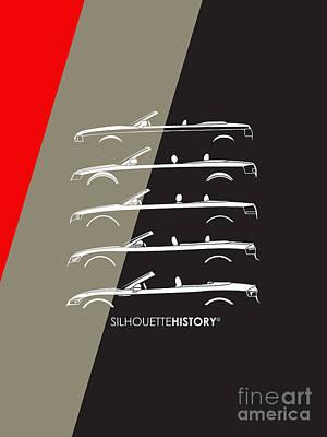 80 Digital Art - Four Ring Cabrio Silhouettehistory by Gabor Vida