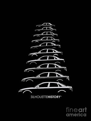 80 Digital Art - Four Rings Sedan Silhouettehistory by Gabor Vida