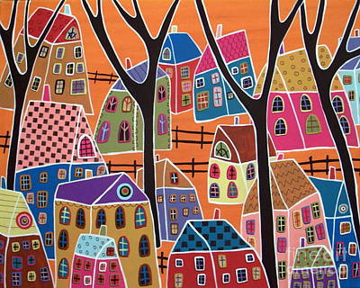 Modern Folk Art Painting - Four Trees And Houses On Orange by Karla Gerard