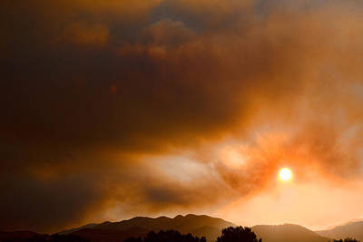 Wildfire Smoke Photograph - Fourmile Canyon Fire Sun Setting  by James BO  Insogna