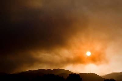 Wildfire Smoke Photograph - Fourmile Canyon Fire Sunset Boulder County Colorado by James BO  Insogna
