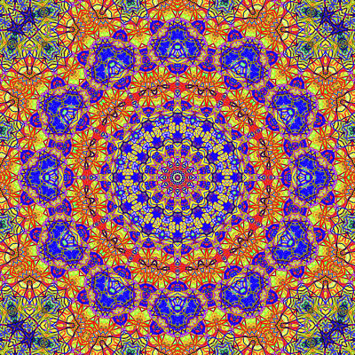 Fourteenth Mandala Of Life For A Rosy Spring Print by John Groves