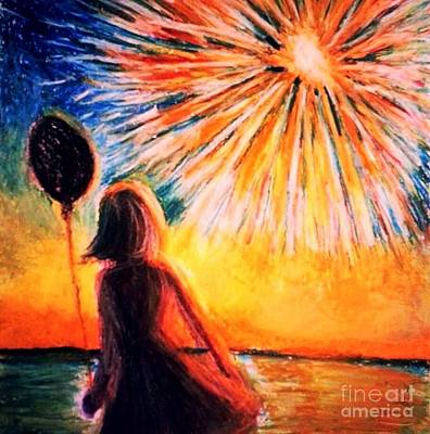 Fireworks Drawing - Fourth Of July 2 by Veronica Gabriel