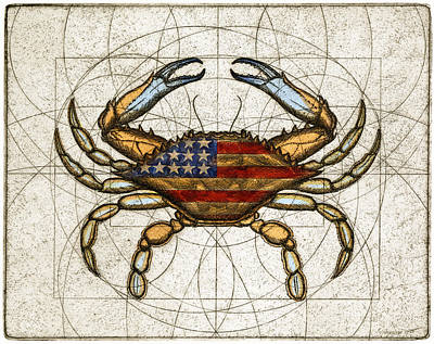 4th Of July Mixed Media - Fourth Of July Crab by Charles Harden