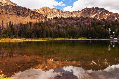 Fourth Of July Lake In White Clouds Wilderness In Idaho Print by Vishwanath Bhat