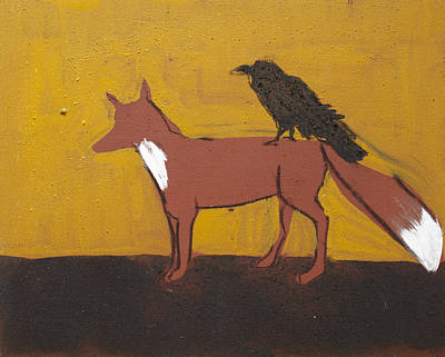 Painted Painting - Fox And Raven by Sophy White