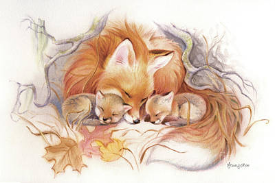 Red Fox Painting - Fox Den Snug by Tracy Herrmann