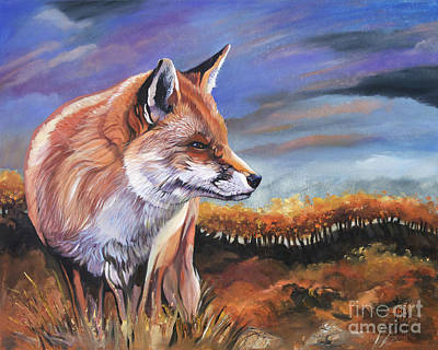 Fox Fall Print by J W Baker