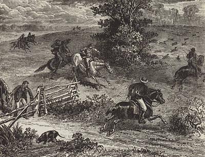 Virginia Drawing - Fox Hunting In Virginia by George Augustus Sala