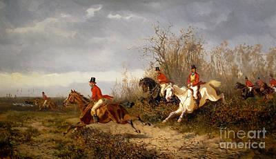 Fox Painting - Fox Hunting Scene by Alexander von Bensa