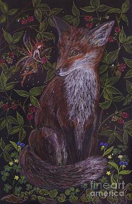 Raspberry Drawing - Fox In The Berry Bushes by Dawn Fairies
