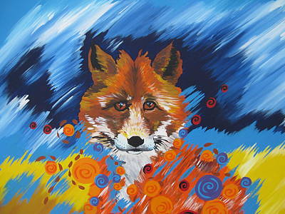 Wall Hanging Drawing - Fox Spirit by Cathy Jacobs