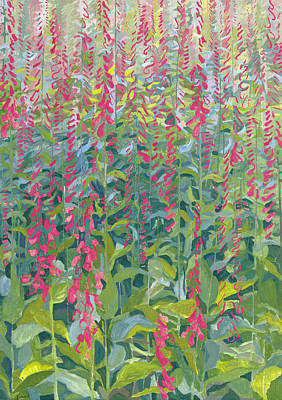 Forest Floor Painting - Foxgloves by Leigh Glover