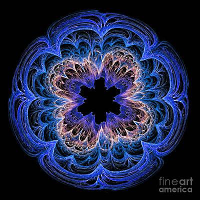Fractal Art Blues By Kaye Menner Print by Kaye Menner
