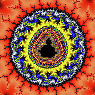 Mandelbrot Set Digital Art - Fractal Mandelbrot Set Red Yellow Blue by Matthias Hauser