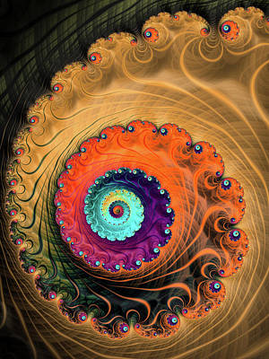 Fractal Spiral Orange Red Purple Beige Brown Print by Matthias Hauser