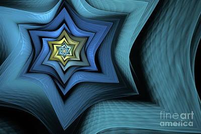 Mysterious Digital Art - Fractal Star by John Edwards