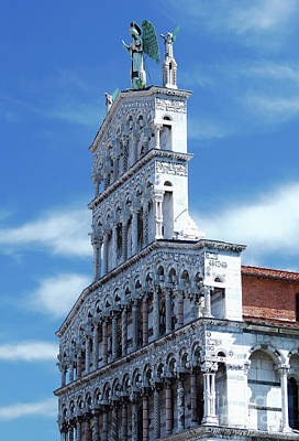 Old City Photograph - Fragment Of The Church Of San Michele, Roman Catholic Basilica Church In Lucca, Italy  by Dani Prints and Images
